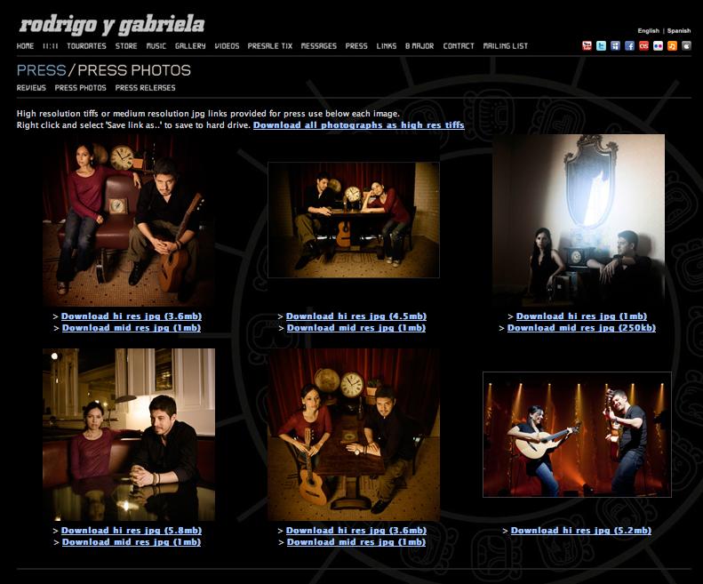 Photo de presse de Rodrigo y Gabriela (la photo de scène)